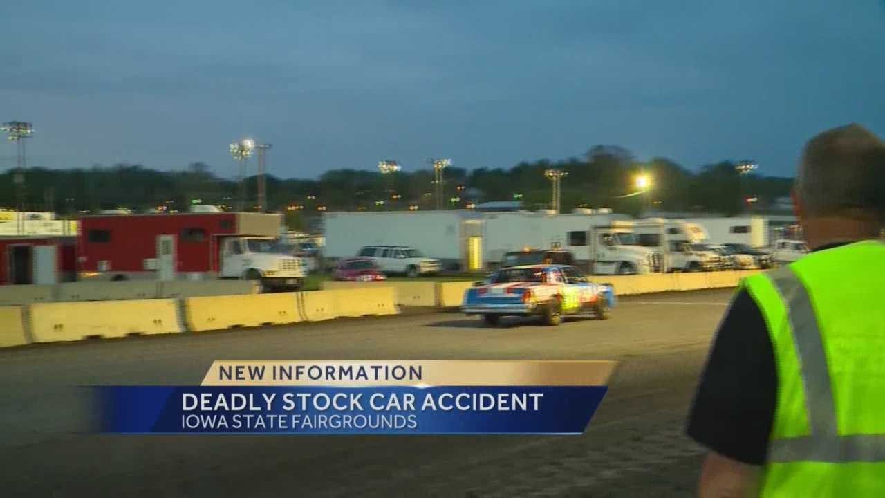 A track spotter died Friday after a car lost control in a race at the Iowa State Fairgrounds Friday night.