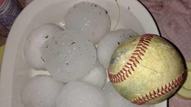 Here's a look at that baseball sized hail from the Omaha area.