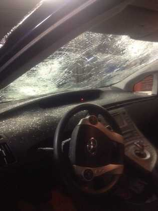 Jerrad Popp of Adel was driving on Interstate 29 when the storm hit.  Look at the damage cause by hail to his car.