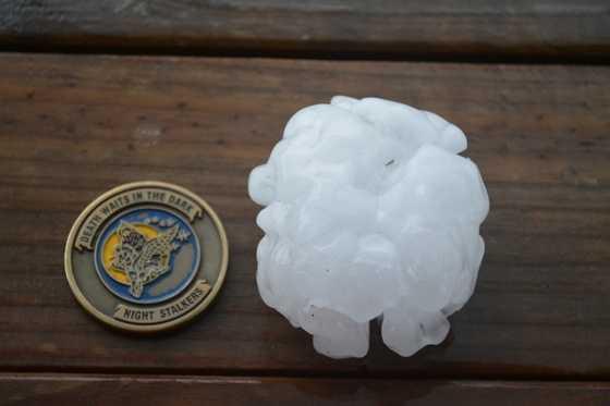This hail fell south of Lamoni.