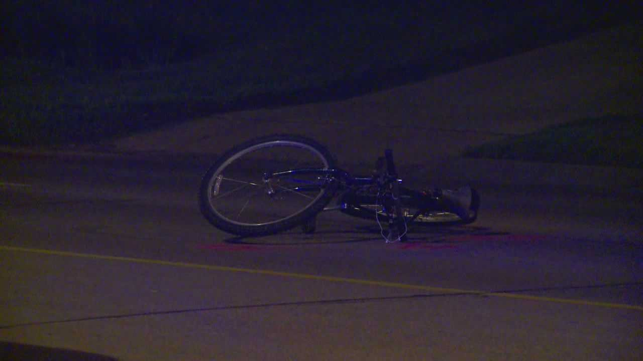 The crash left the bicyclist with a broken leg, concussion and road rash.