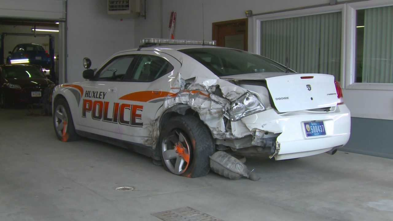 A police officer was injured in a car crash on Interstate 35 Sunday night.