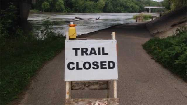 Bike trails closed flooding