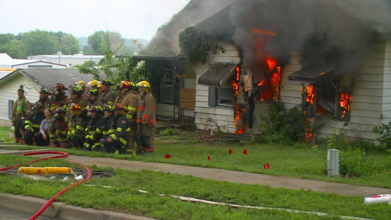 A home was intentionally set on fire Sunday by the fire department for training.