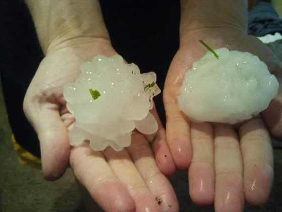 Hail in Rockwell City, Iowa