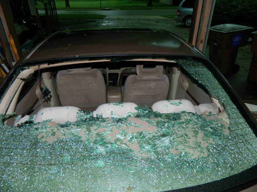 2001 Chevy Impala - Back window smashed by large hail in Rockwell City, Iowa on Monday, June 30th, 2014.