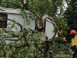 Camper damaged in Little Wall Lake, Iowa