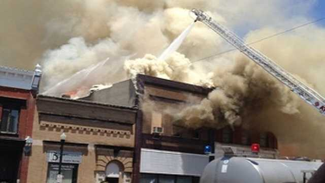 Fire in downtown Audubon on Friday.