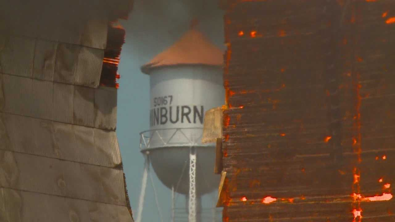 Flames engulfed an old elevator at the Minburn Co-op on Sunday, but it was for a good reason.