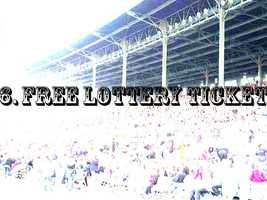 6. If you come before noon Thursday, you can get a free lottery ticket. The Iowa Lottery is the opening day sponsor.