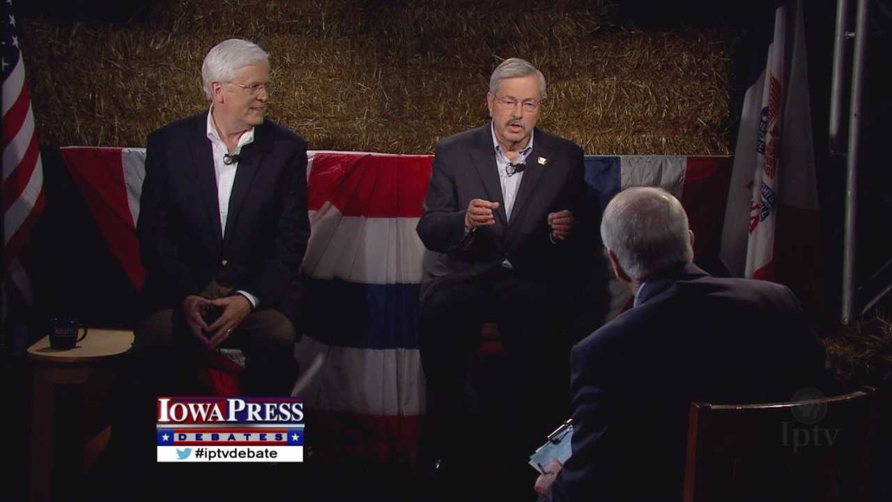 Gov. Terry Branstad and Jack Hatch went head-to-head Thursday in their first debate before the November election.