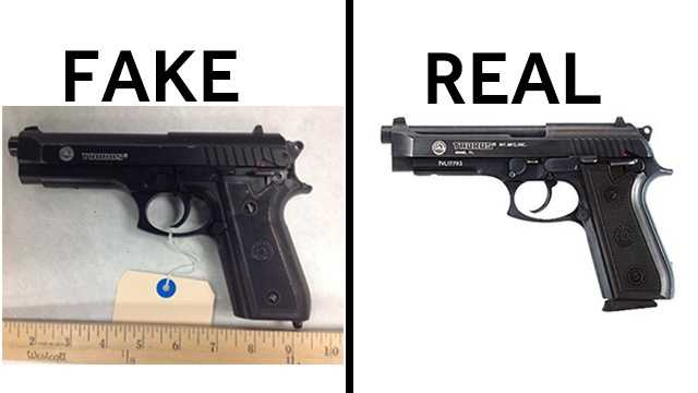 Compare the fake gun on the left with the real gun on the right.  Photos provided by Omaha Police Department.