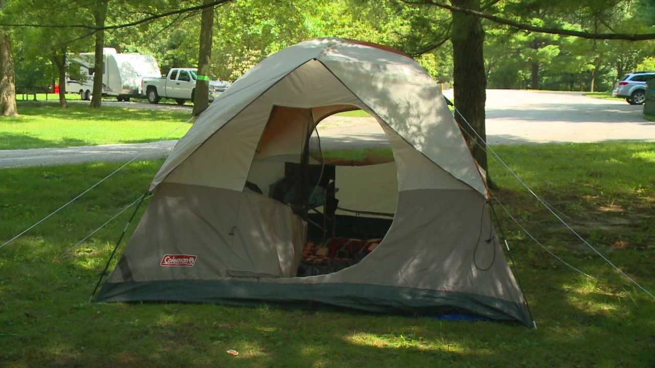 The Sunday storms put a damper on some campers' holiday weekend plans, but not all decided to leave campgrounds.