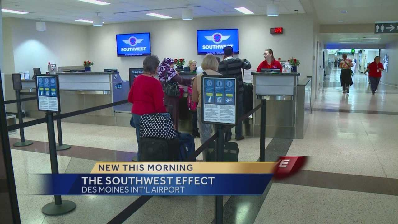 "The so-called ""Southwest effect"" is having a big impact on how much you're paying for a plane ticket at the Des Moines Airport."