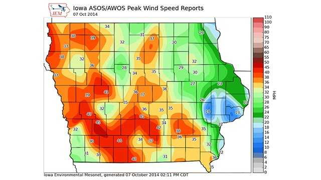 Map showing peak wind gusts early afternoon in Iowa.