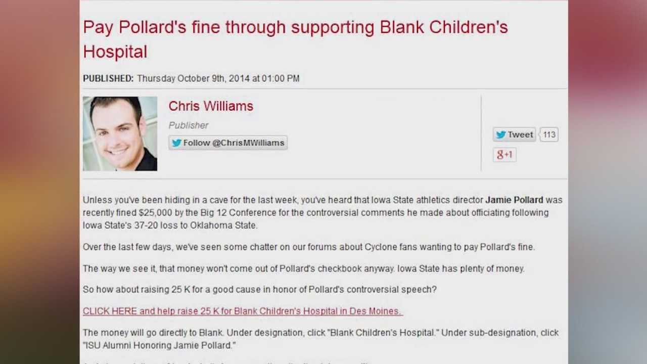 No one could have predicted that when Iowa State Athletic Director Jamie Pollard spoke out against the Big 12 money would come pouring in for a good cause.
