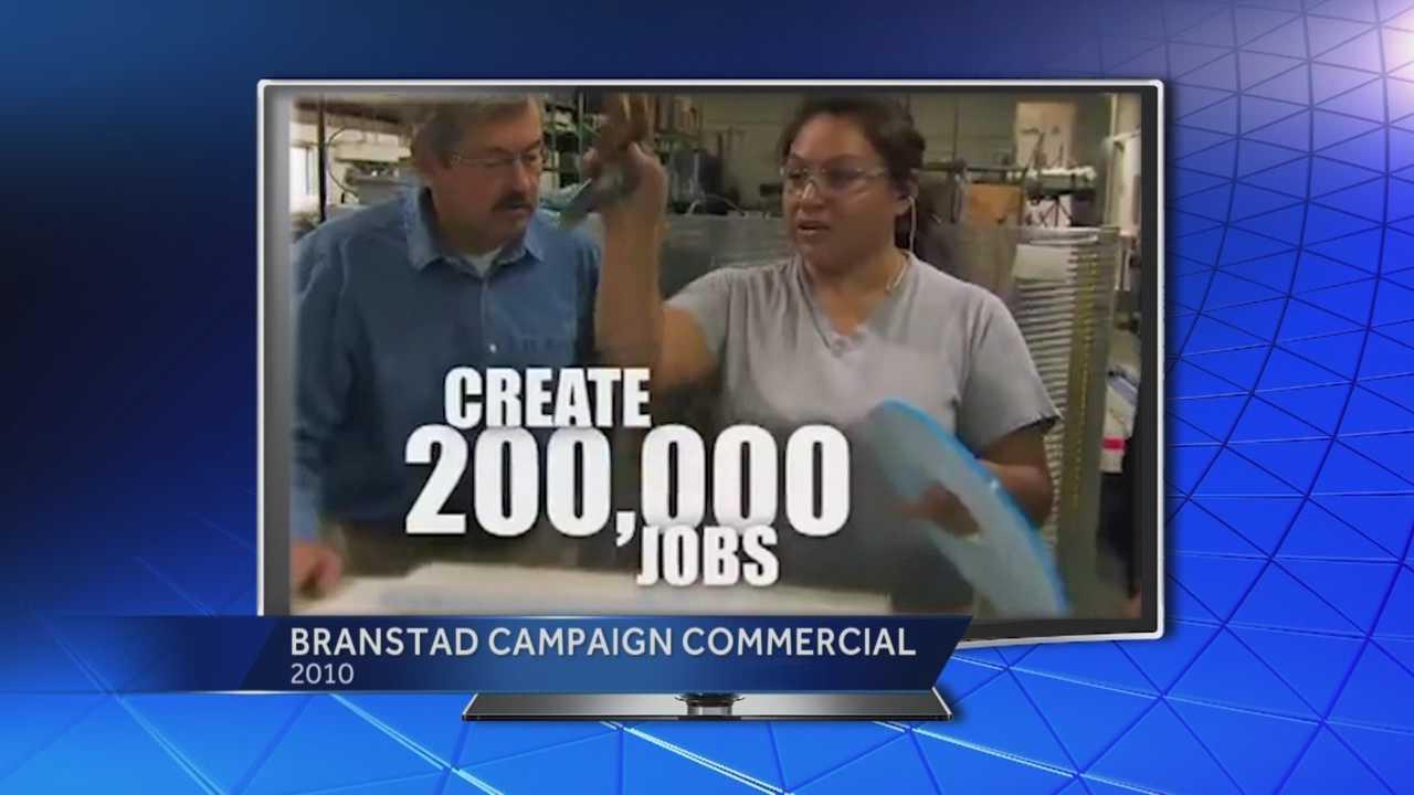 Gov. Terry Branstad said he kept his promises to voters, but Democrats disagree.