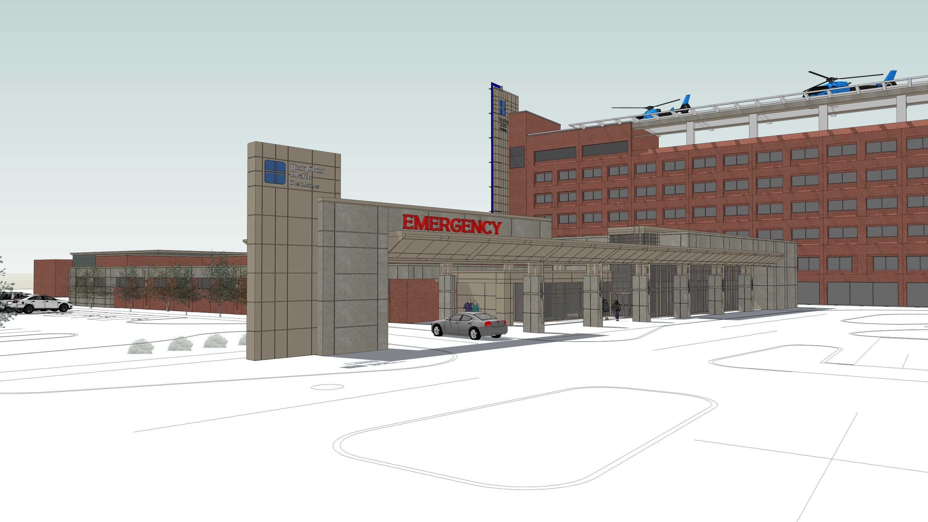 An artist concept of the plan for new ER departments at Iowa Methodist Medical Center and Blank Children's Hospital.