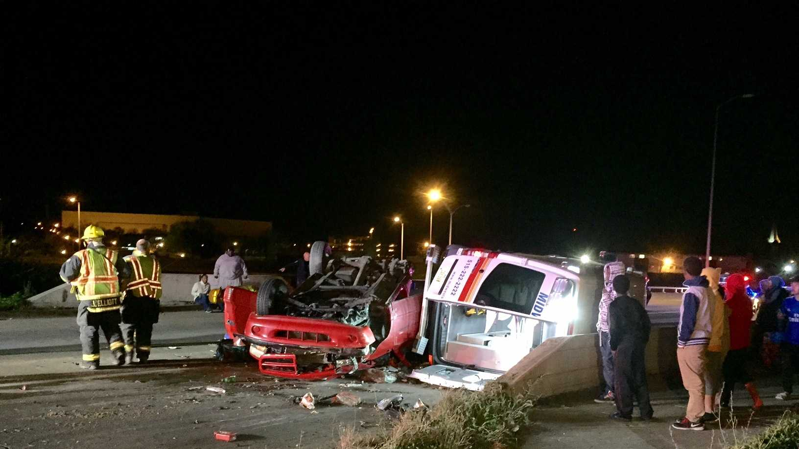 One person critically injured after a collision causes an ambulance to rollover.