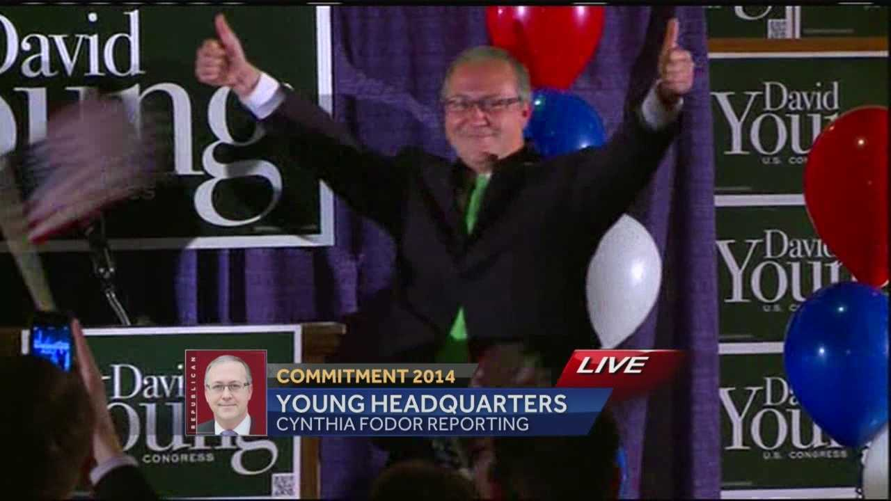 "David Young addressed the crowd saying, ""Never count out a kid from Van Meter."" Young  beat Democrat Staci Appel and was elected to the U.S. House."
