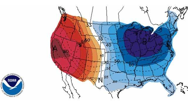 6-10 day temperature probability outlook from NOAA.  The blue shaded areas show the highest probability of below normal temperatures.