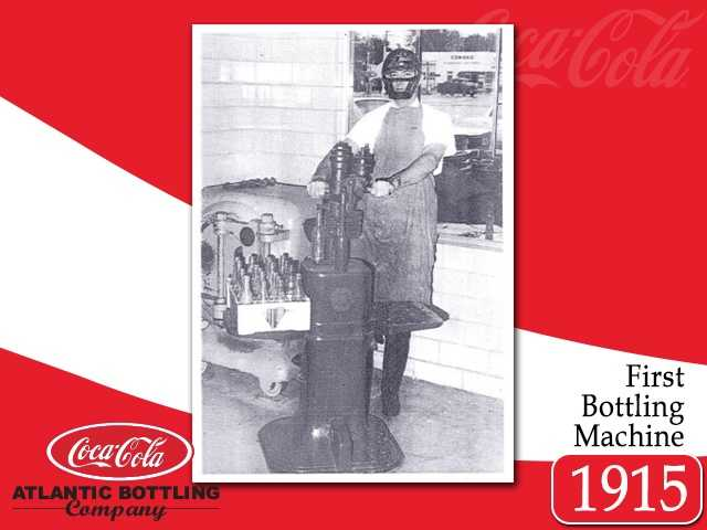 In this demonstration of the first bottling machine used by the Tyler Brothers, this machine filled the bottle with syrup and carbonated water, then capped.  20 cases an hour would test any man's metal!