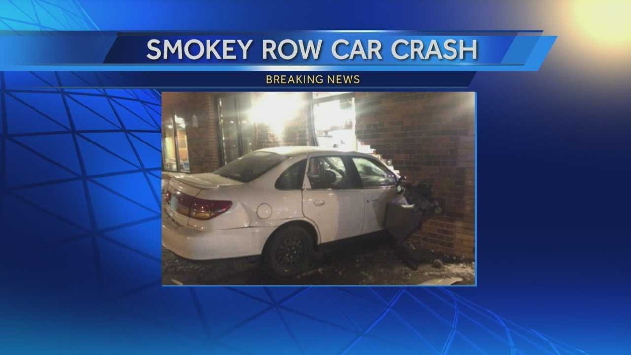 A car slammed into a popular Des Moines coffee stop late Sunday night.