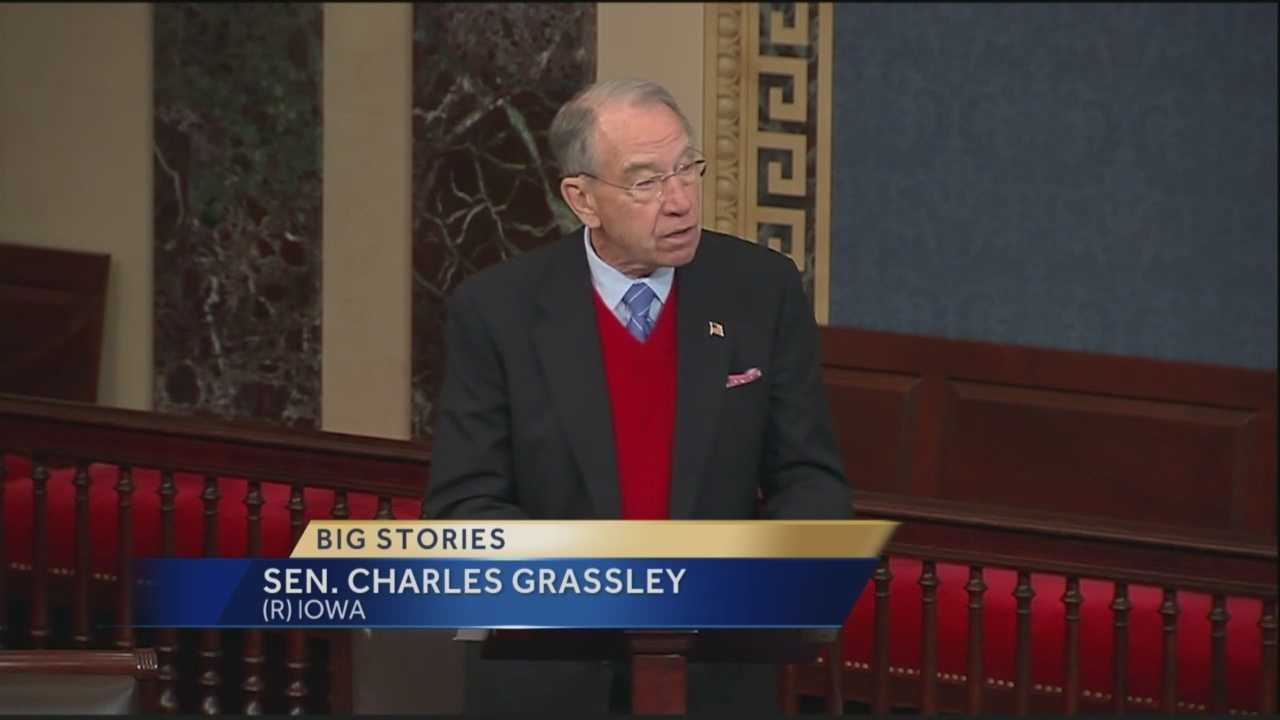 Sen. Chuck Grassley has offered an emotional farewell to longtime colleague Tom Harkin, who is retiring after three decades in the Senate.
