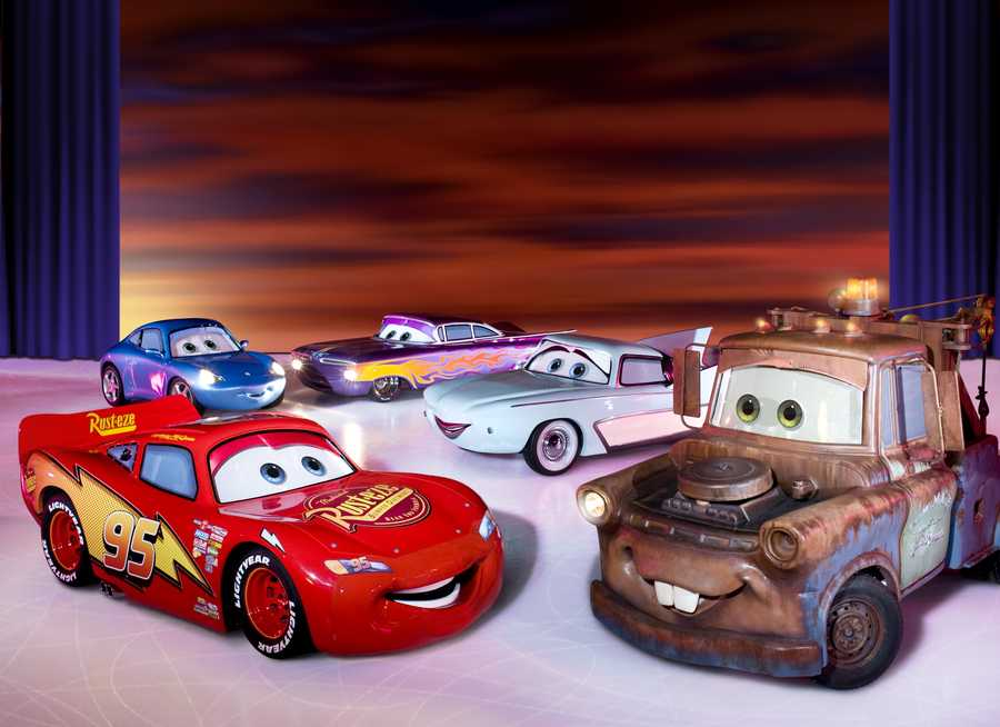 Audiences will be amazed by the life-sized Cars characters Mater, Lightning McQueen, Sally, Flo and Ramone speeding and zooming around the frozen highway. While on a road trip from Radiator Springs, the Cars characters try to re-energize Mickey Mouse's cherry red roadster that breaks down. The coolest cars on the ice, with working eyes, zip around the rink to a favorite tune from the Disney/Pixar hit movie.