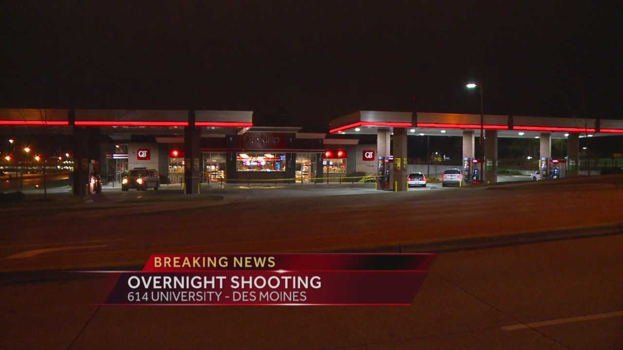 Des Moines police said a man showed up at a convenience store with gunshot wounds early Monday morning.