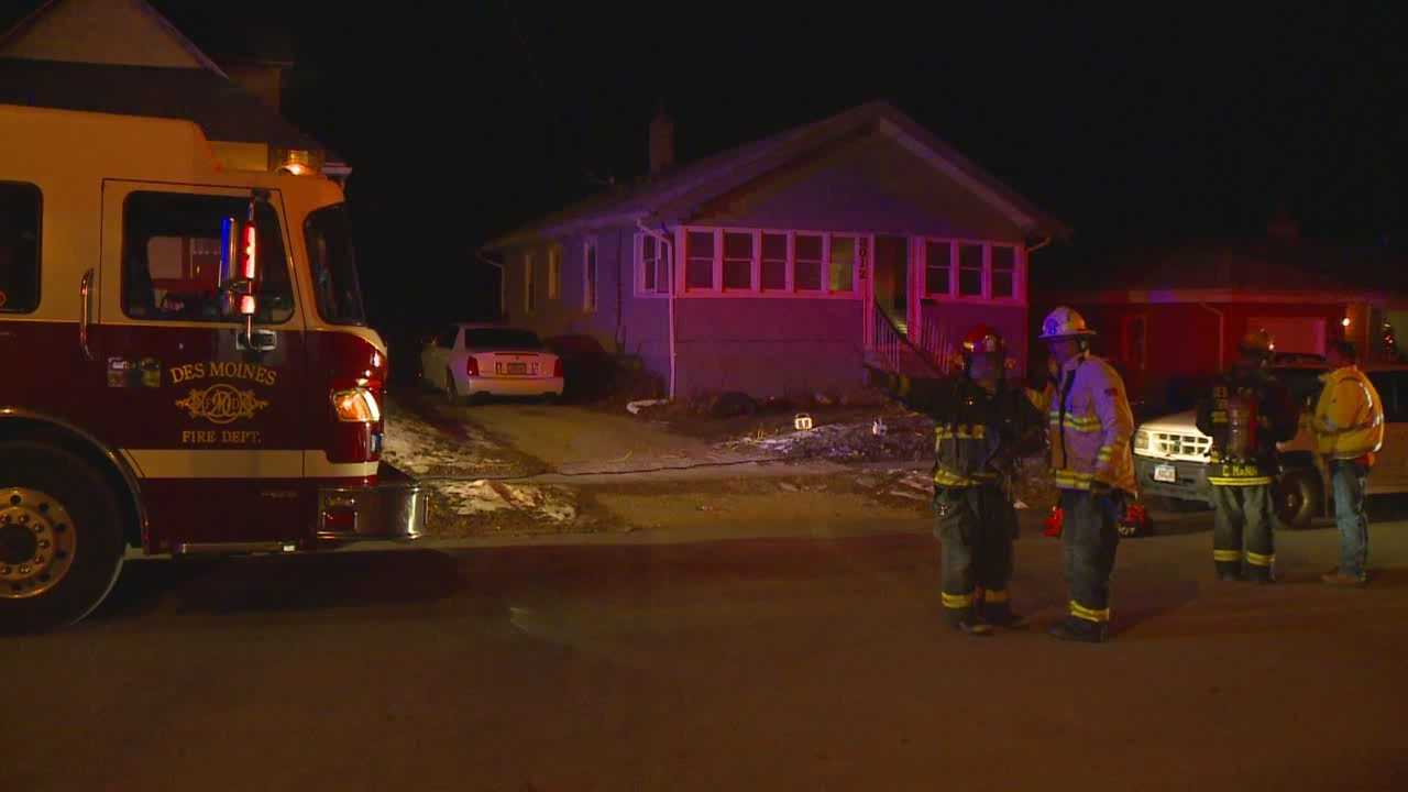 A man was injured while escaping a house fire in Des Moines early Monday morning.