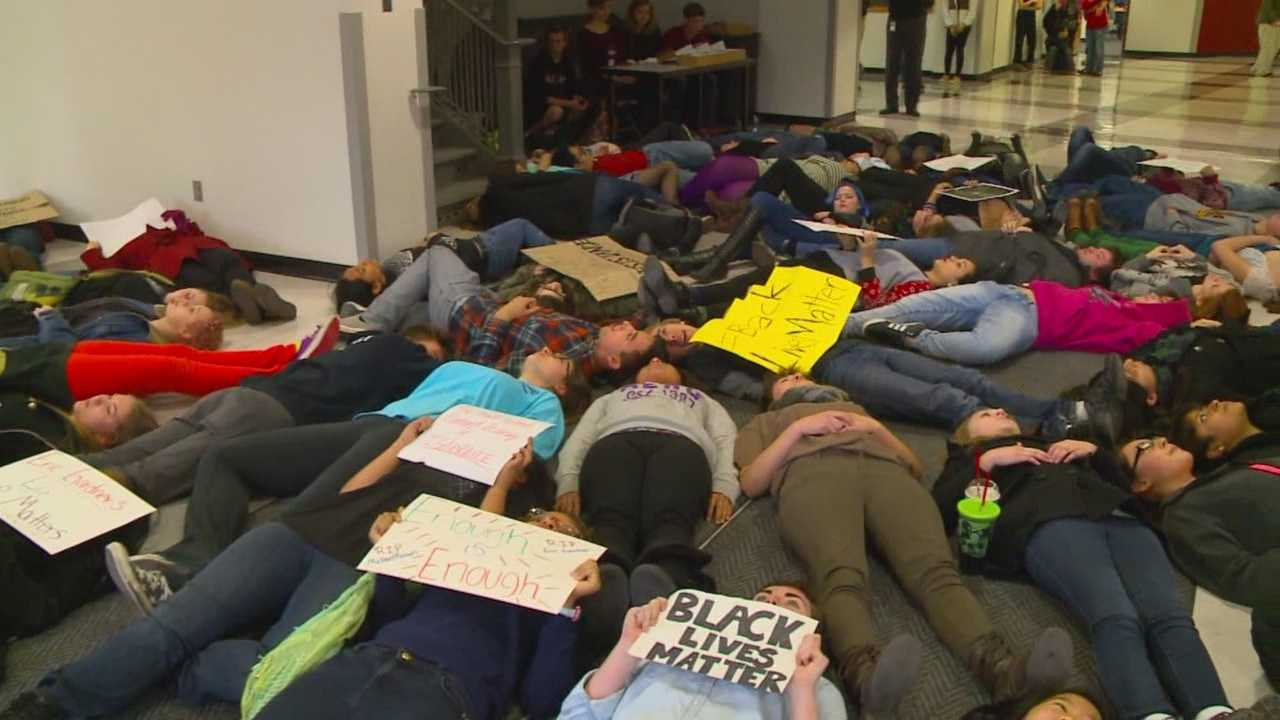 About 50 high school students gathered inside Central Academy to protest the recent grand jury decisions in Ferguson and New York.
