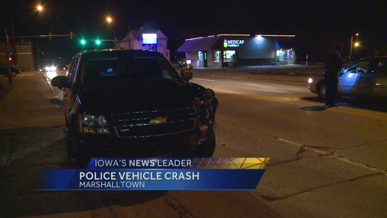A collision between two squad cars closed portions of Highway 14 in Marshalltown Wednesday night.