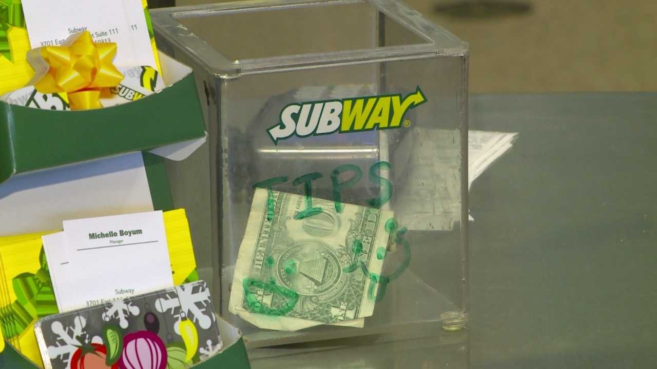 Employees at a local Subway sandwich shop selflessly turned their tips into meals and gifts for local families.