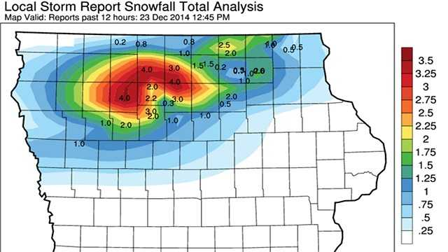 Snow totals across Iowa Tuesday from Iowa Mesonet.