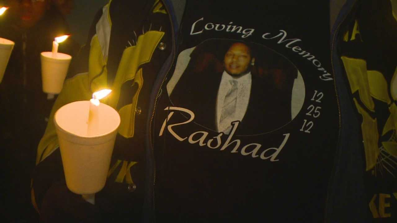 Family and friends gathered at 1410 Washington Ave. to remember Rashad Adair Sr. with a candlelight vigil.