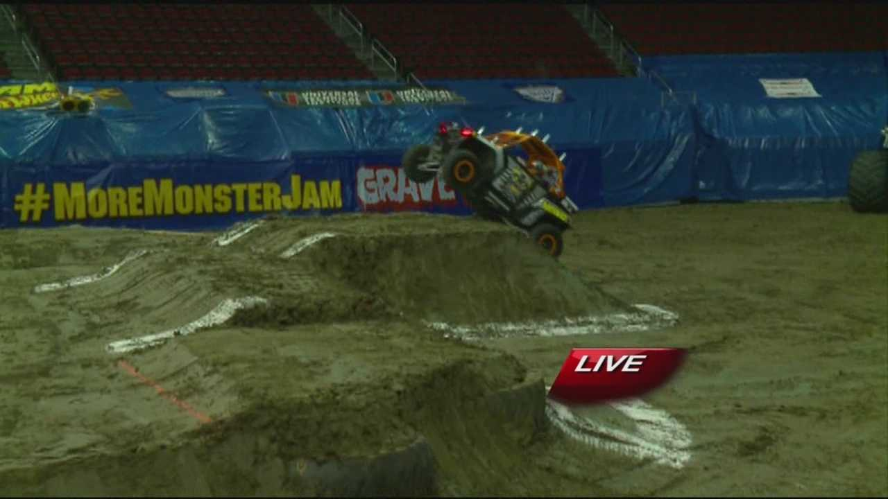 KCCI's Emmy Victor got a ride in a 'mini' monster truck before Monster Jam at Wells Fargo Arena.