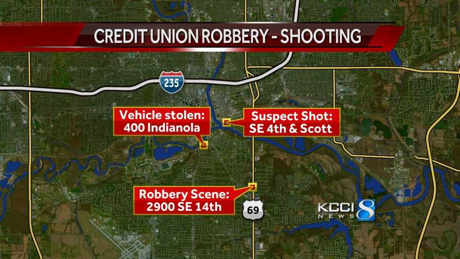 This case involves three crime scenes: The credit union, a location where the man carjacked a second vehicle and SE 4th & Scott where the pursuit ended and the man was shot.
