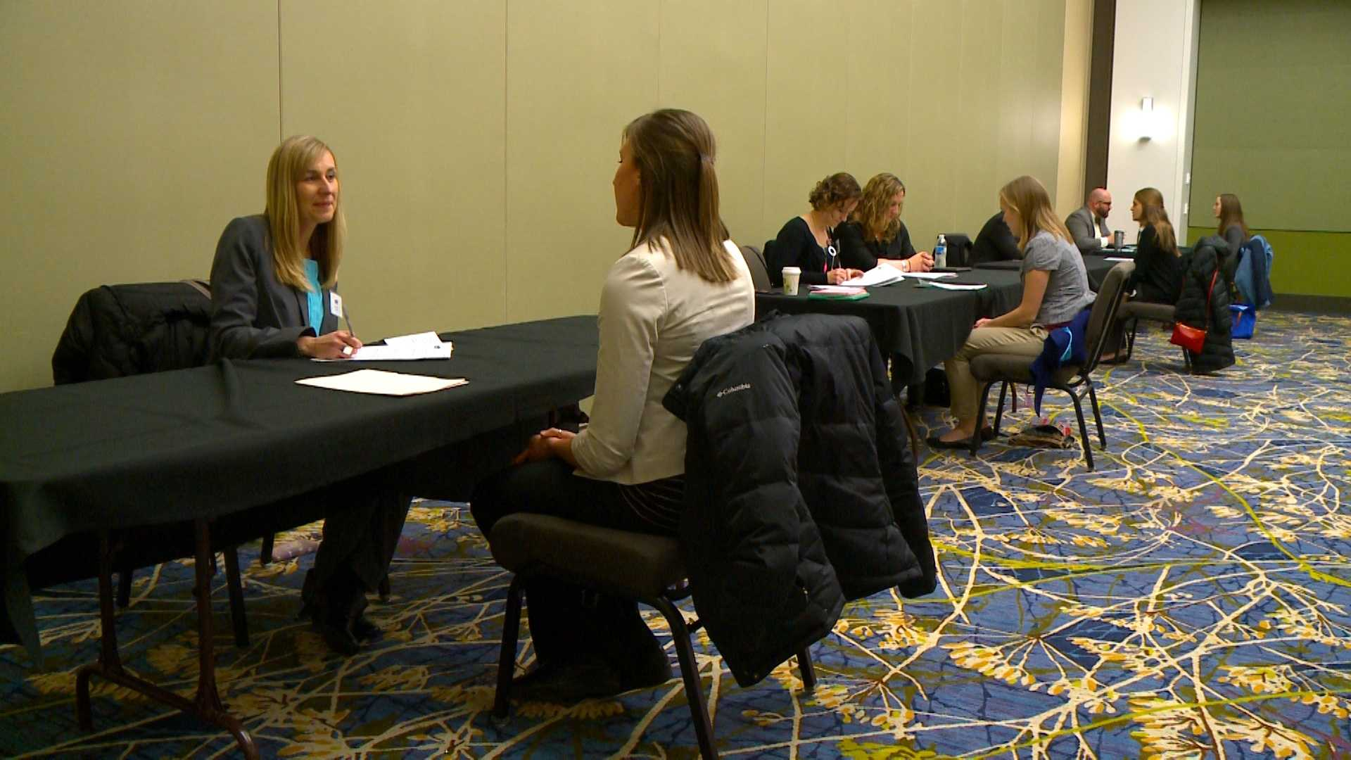 Nearly 700 people went to the Educator Career Fair Saturday morning hoping to land a job with the Des Moines Public School District.