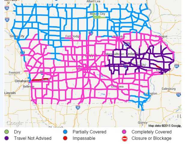 Road Conditions Continue To Deteriorate - Iowa road map