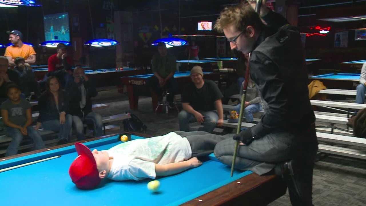 "Florian ""Venom"" Kohler wowed the crowd at Big Dog Billiards"