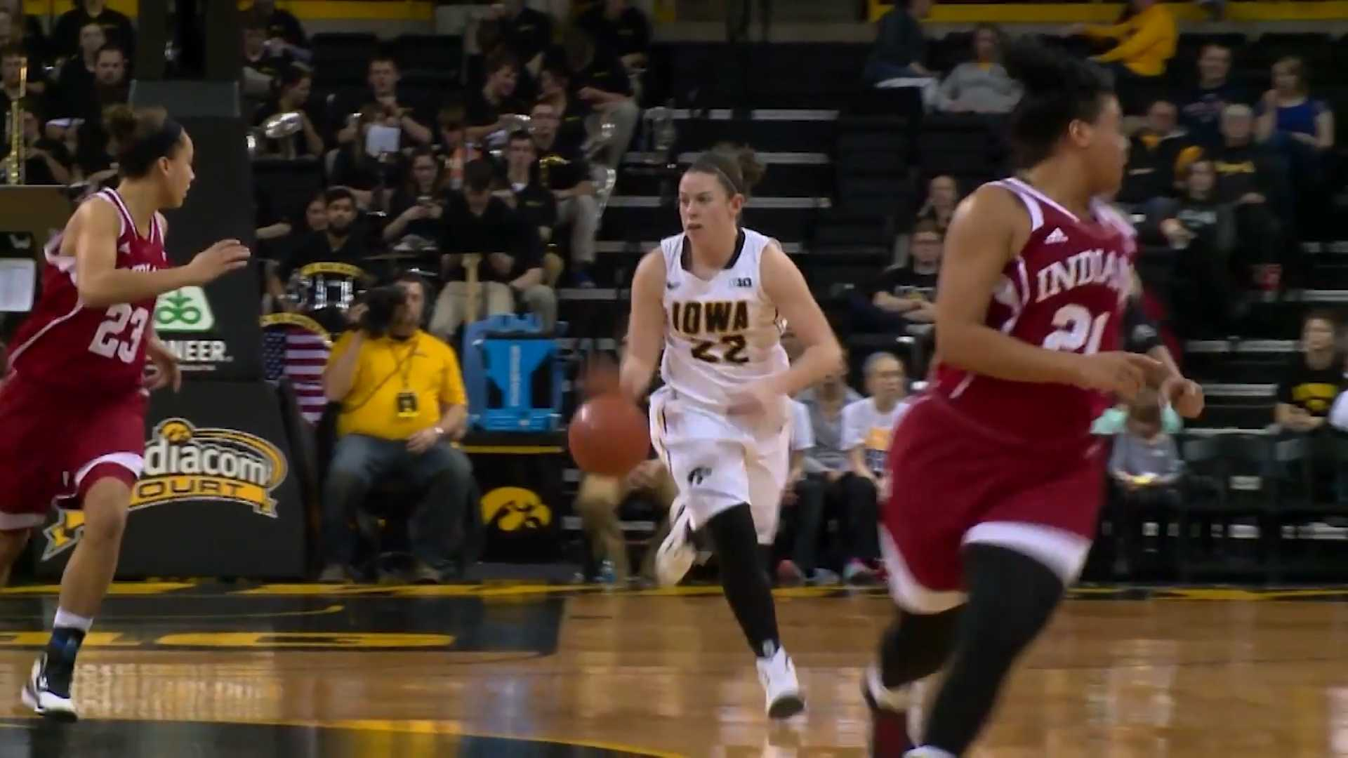 Iowa guard Samantha Logic bring the ball up the floor against Indiana.