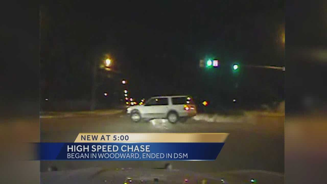 A high-speed chase ended in dramatic fashion in Des Moines.