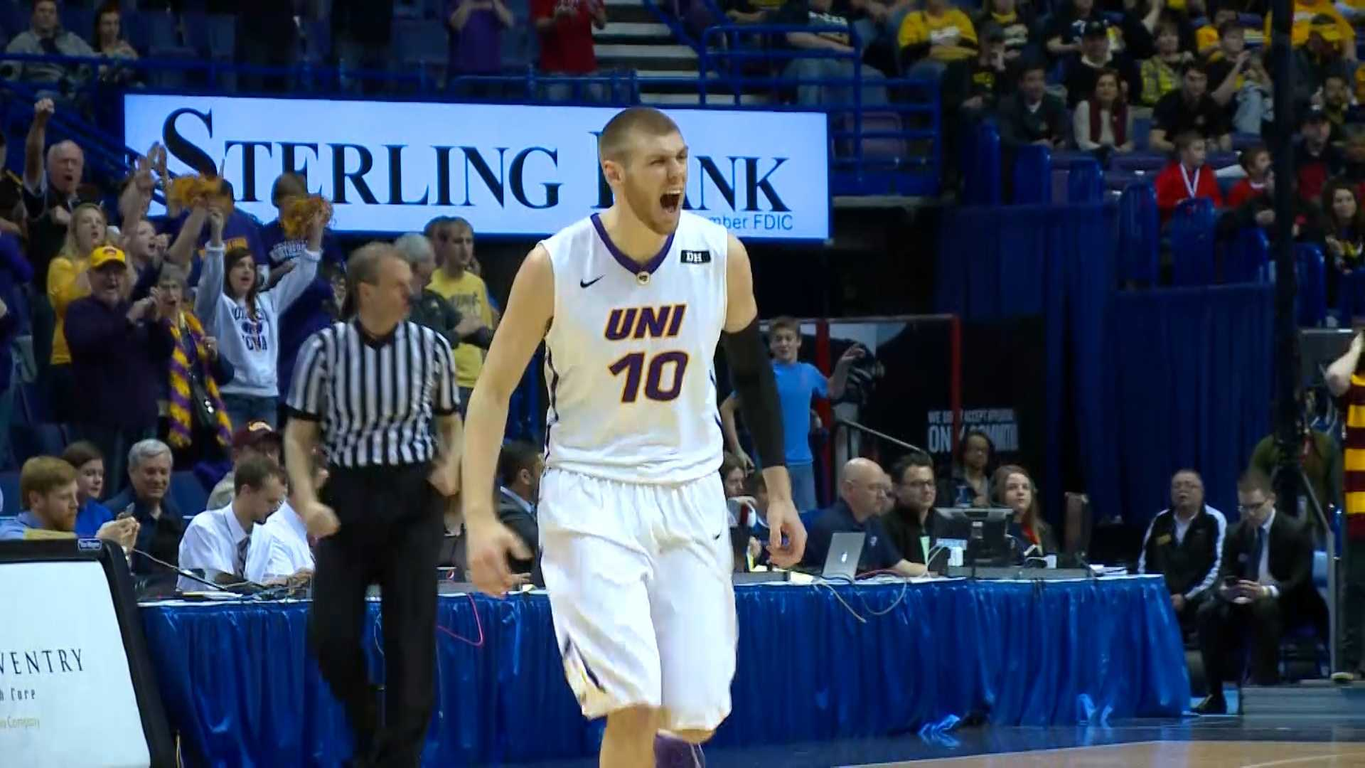 Missouri Valley Conference MVP Seth Tuttle celebrates after hitting a 3-pointer against Loyola in the Arch Madness semifinals Saturday.
