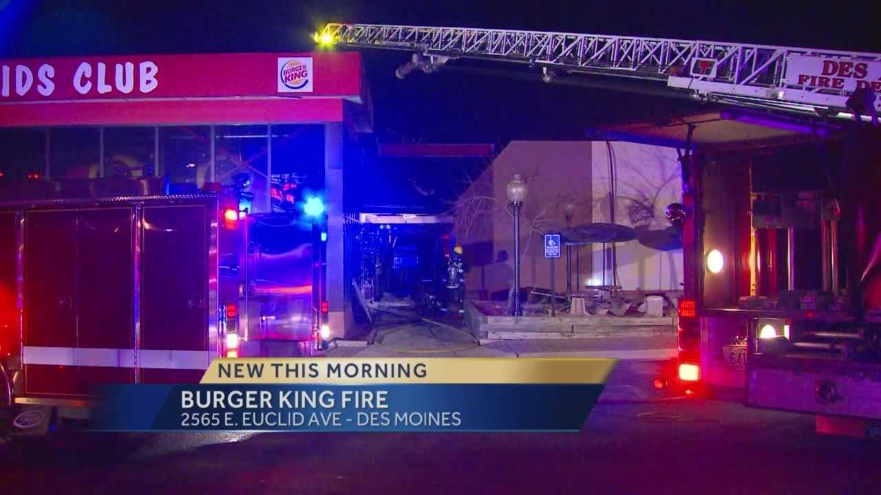 Fire crews were called to a blaze at a Des Moines Burger King late Sunday night.