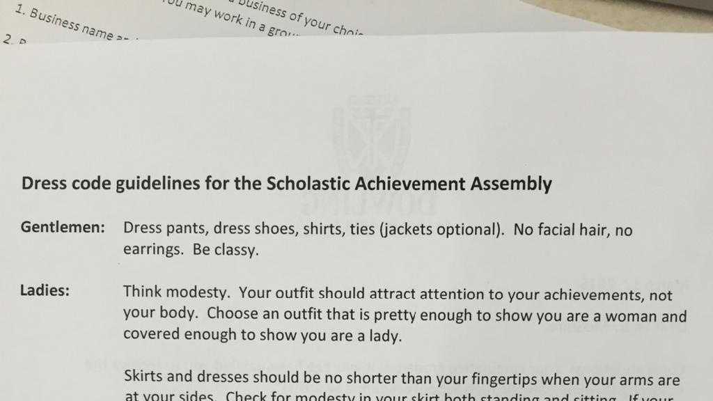 Dowling students call assembly dress code 'sexist'
