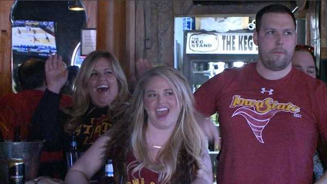 Dressed in Cyclone gear, the wild crowd inside The Kegstand in West Des Moines couldn't sit still as they watched their team battle the Jayhawks for the Big 12 Championship.