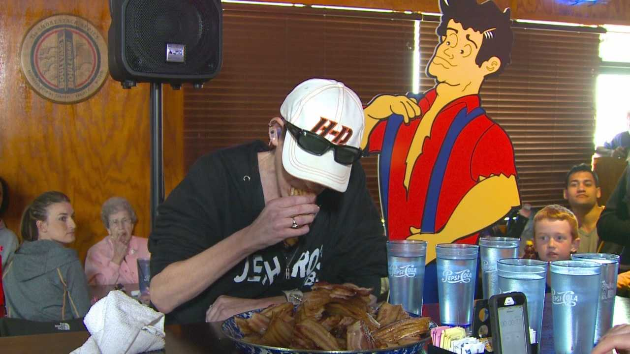 The competitive eater is now heading to Texas to tackle another challenge.