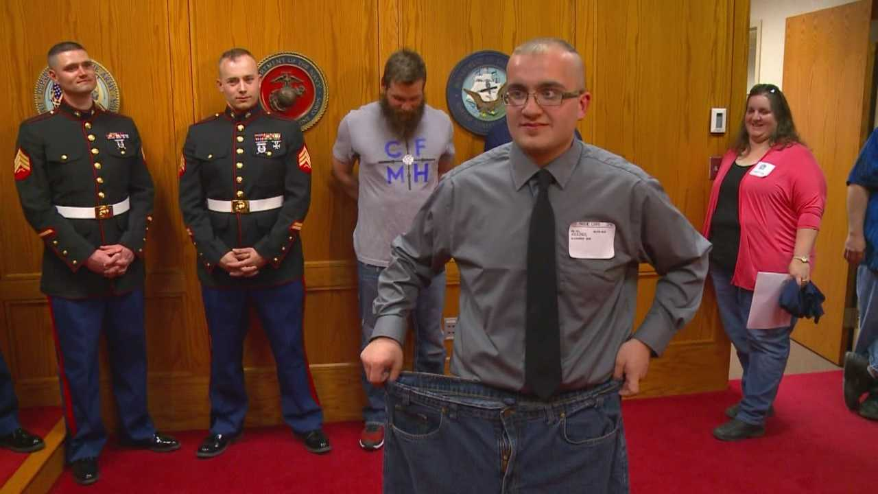 An Iowa man has worked the past six months to drop nearly 100 pounds so that he can join the U.S. Marines.