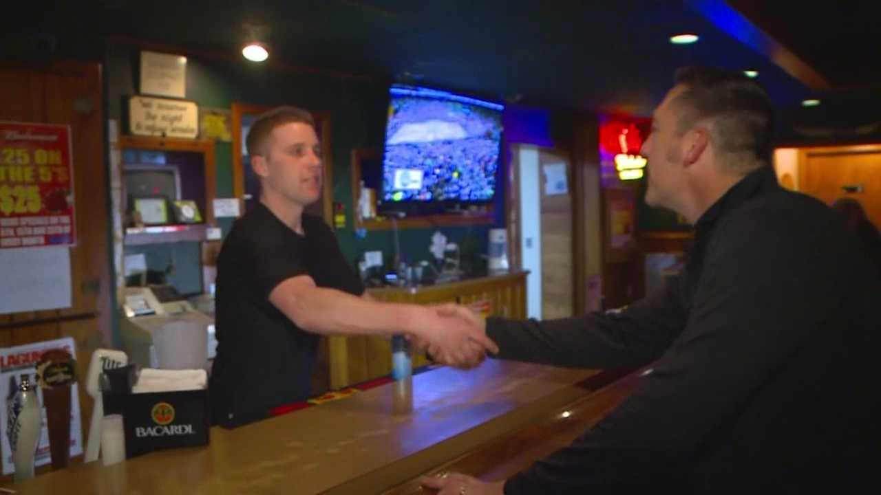 On Tuesday night, Amos Purcell went to Gerri's Place to thank the bartender who tried to save his brother's life.